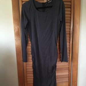 Express Long Sleeve Ruched Maxi Dress